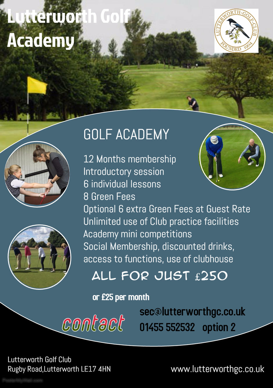 Lutterworth Golf Club Academy Membership